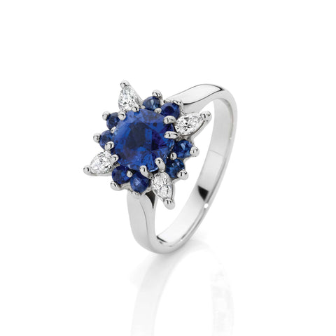 Sapphire & Diamond Fire Dress Ring