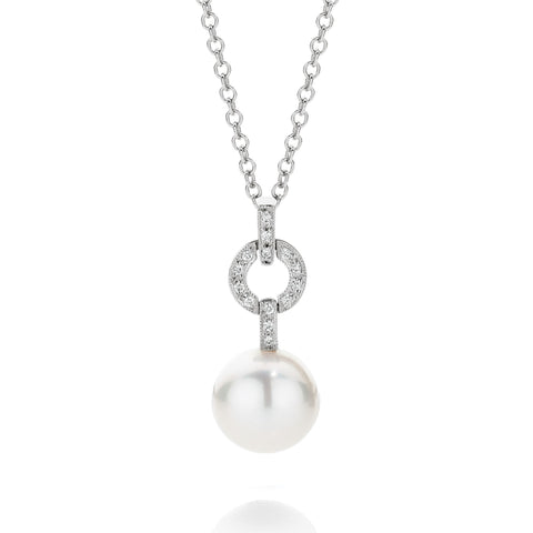 South Sea Pearl & Diamond 'O' Pendant