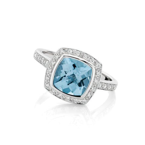 Blue Topaz and Diamond Cluster Ring