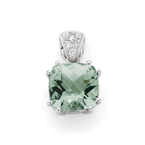 Green Amethyst & Diamond Pendant