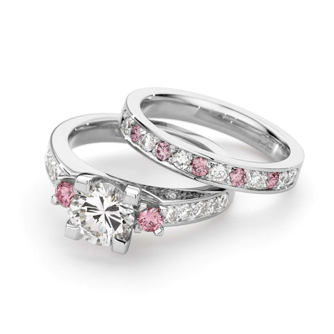 White Gold Pink Diamond Set