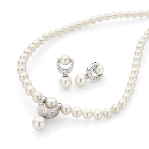 Pearl & Diamond Horseshoe Set