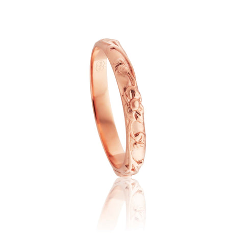 18ct Rose Gold Relief Pattern Ring