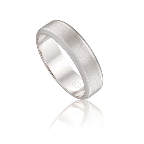18ct White Gold Satin Wedding Ring