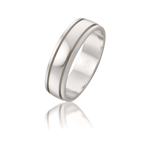 18ct White Gold Double Groove Wedding Ring