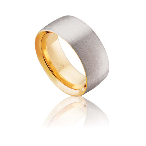 18ct Yellow and White Gold Satin Comfort Wedding Ring