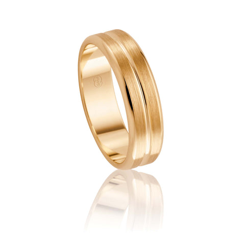 18ct Yellow Gold Groove Wedding Ring