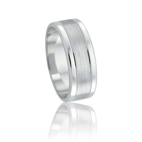 18ct White Gold Polish and Satin Wedding Ring