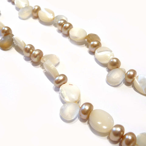 Shell, freshwater Pearl and Moonstone Necklace