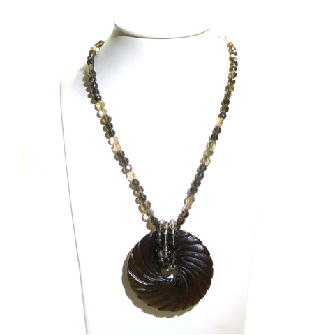 Petrified Wood Pendant On A Smokey Quartz Necklace