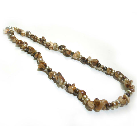 Shell Pearl And Chocolate Pearl Necklace