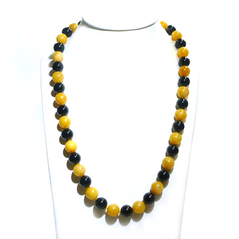 Yellow Agate And Onyx Beaded Necklace