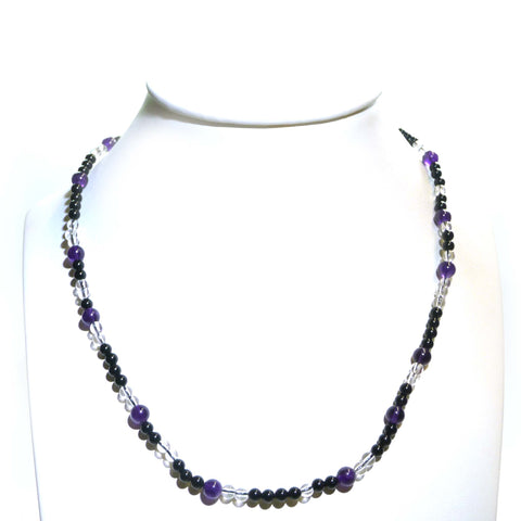 Amethyst Onyx and Rock Crystal Necklace