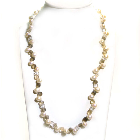 Smokey Quartz And Freshwater Pearl Necklace