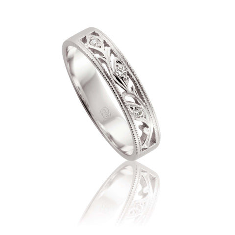 18ct White Gold Pierced Pattern Diamond Ring
