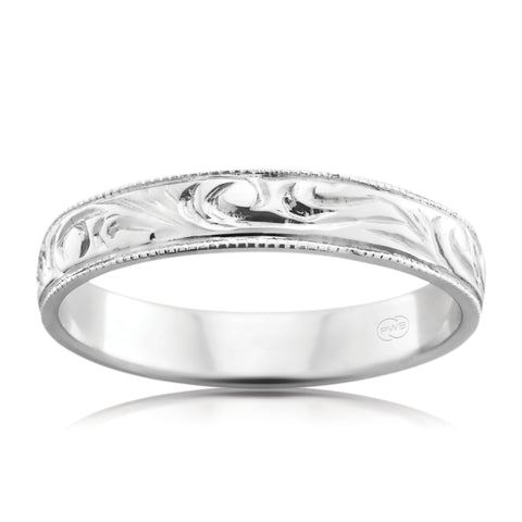 18ct White Gold Full Circle Pattern Ring