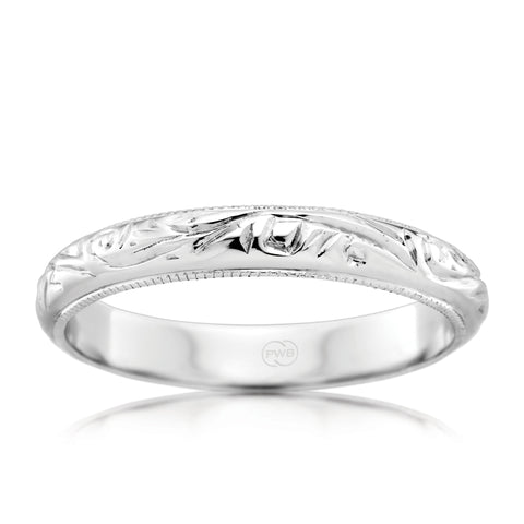 18t White Gold Antique Style Pattern Ring
