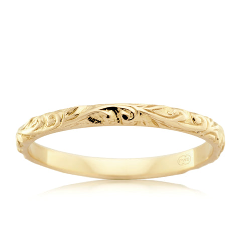 18t Yellow Gold Relief Pattern Ring