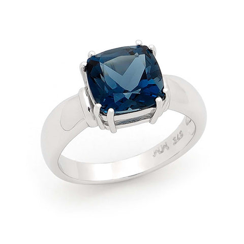 London Blue Topaz 9ct White Gold Ring
