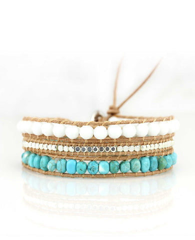 Turquoise Beads and White Crystal Wrap Leather Bracelet in Tan