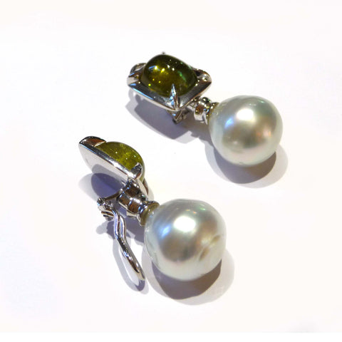 Green Tourmaline Detachable South Sea Pearl Clip On Earrings