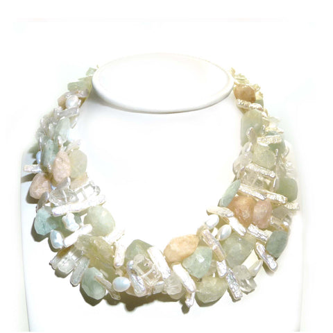 Beryl, Biwa Stick Pearl And Rock Quartz Multi Strand Necklace