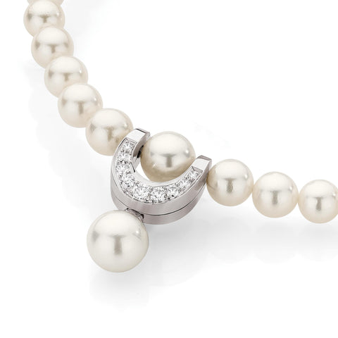 Pearl & Diamond Horseshoe Necklace
