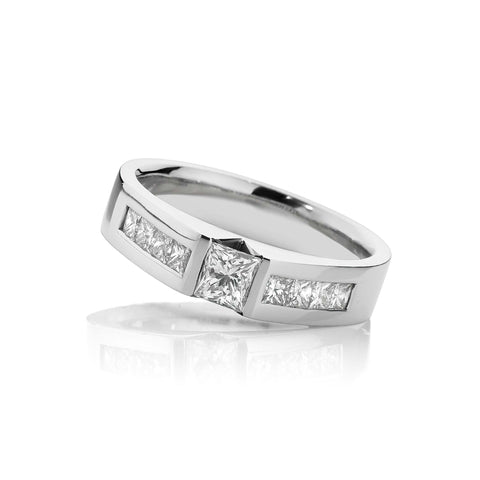 Princess Channel Set Engagement Ring