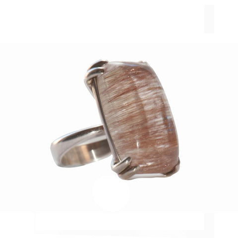 Pink Rutilated Quartz Sterling Silver Dress Ring