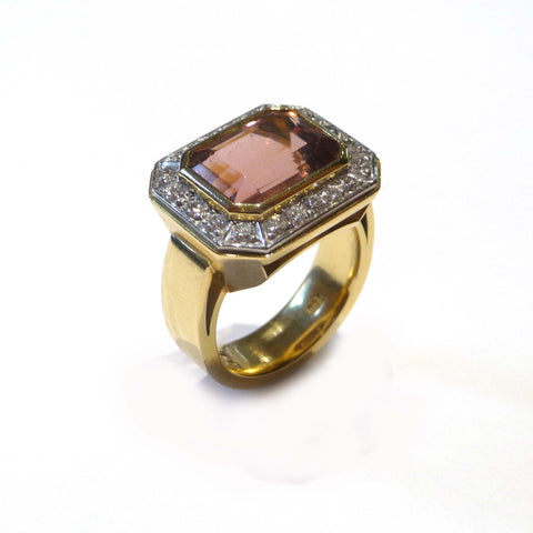 Emerald Cut Plum Tourmaline And Diamond Ring