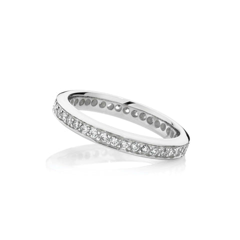 Platinum Full Circle Thread and Grain Wedding Band
