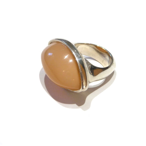 Sterling Silver Peach Moonstone Dress Ring