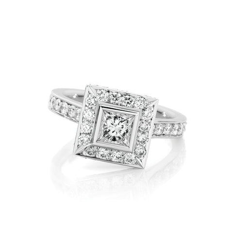 Princess Bezel Diamond Cluster Ring