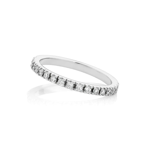 Half Circle Micro Claw Set Diamond Wedding Band