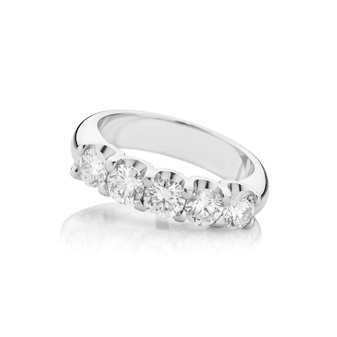 Shared Claw Five Stone Diamond Ring