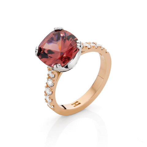 Cognac Zircon And Diamond Ring