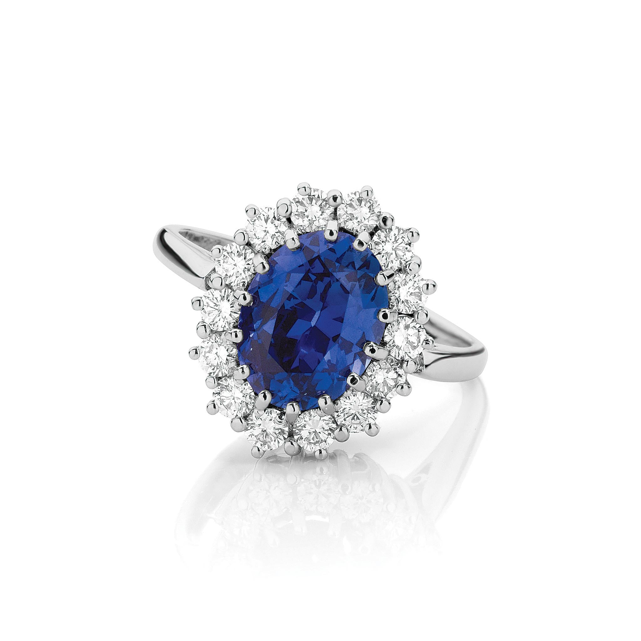 and diamond royal ring platinum ladies sapphire blue ct