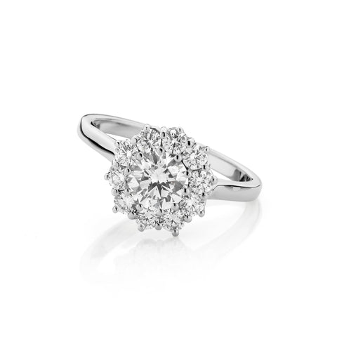 Double Basket Cluster Diamond Ring