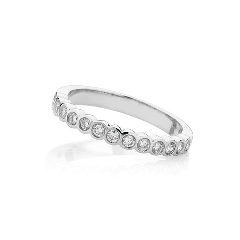 Half Circle Bezel Set Diamond Wedding Band