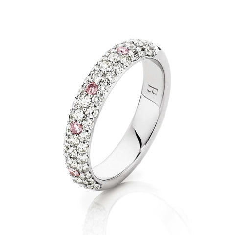 Pave White & Pink Diamond Wedding Band