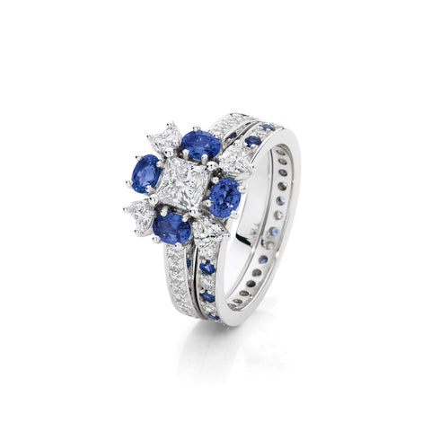 Ceylon Sapphire and Princess Cut Diamond Double Basket Cluster Engagement and Wedding ring set