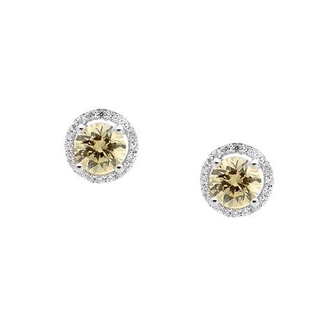 Sterling Silver & Round Yellow Cubic Zirconia Earrings