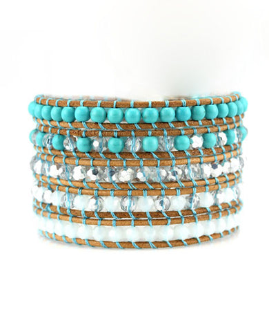 Turquoise Crystal Leather Wrap Bracelet in Tan