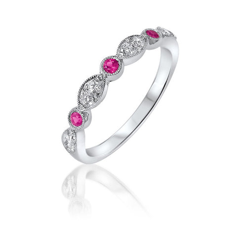 Ruby and Diamond Millegrain Ring