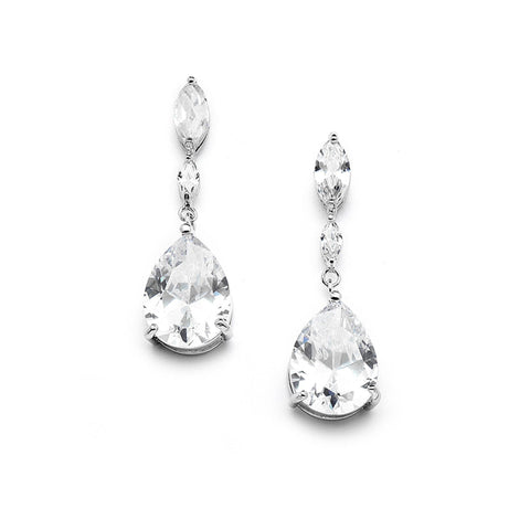 Cubic Zirconia dainty pear & Marquise shape drop bridal earrings