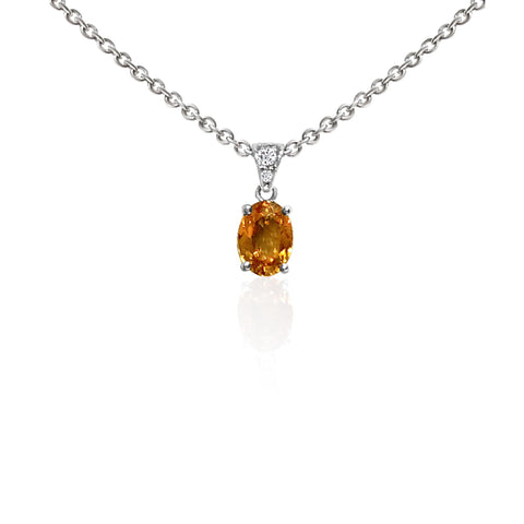 Oval Mandarin Garnet and Diamond Necklace