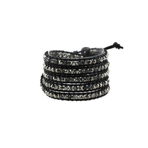 Leather Wrap Crystal Bracelet in Black