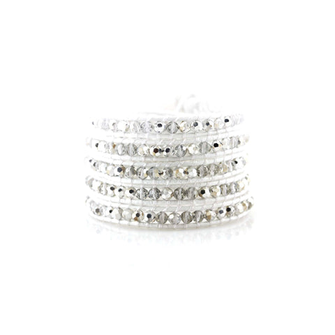 Leather Crystal Wrap Bracelet in White