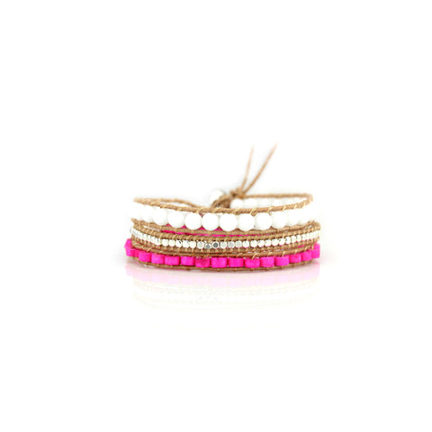 Hot pink & white leather bracelet