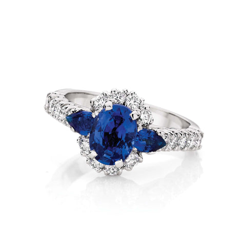 Oval & Pear Sapphire & Diamond Cluster Engagement Ring